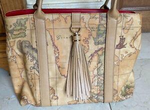 New, Alviero Martini Geo Classic Handbag in Map Print
