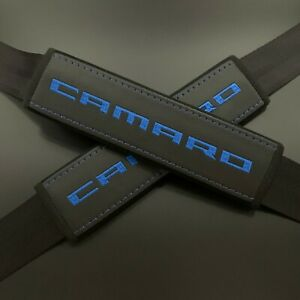 Chevrolet Camaro Black seat belt covers pads Blue embroidery 2PCS