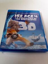"""BLU-RAY """"ICE AGE 4 3D LA FORMACION DE LOS CONTINENTES"""" 3 DISCOS COMO NUEVO DVD"""