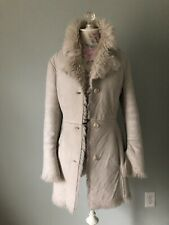 Faux Suede/Shearling Fur Winter Jacket Coat Taupe/Beige Xs/S Woman Ivory Italy