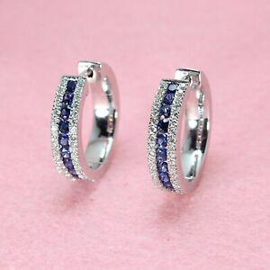 2.90Ct Round Brilliant Cut Blue Sapphire Hoop Earrings in 14k White Gold Finish