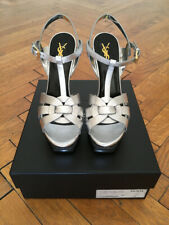 YVES SAINT LAURENT TRIBUTE 105 PLATFORM SANDAL SILVER - NEW!