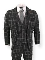 Mens 3 Piece Suit Black Check Tweed Slim Fit Peaky Blinders Vintage Wedding