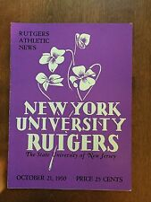 Vintage 1950 Rutgers Vs N.Y.U  Football Program Rare Great Ads