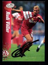 Rudi Völler Bayer Leverkusen PANINI CARD 1995 firmato originale +a98497