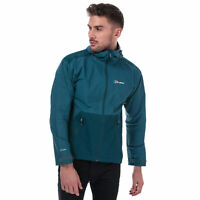 Mens Berghaus Deluge Pro Shell Jacket In Blue- Zip Fastening- Hook And Loop
