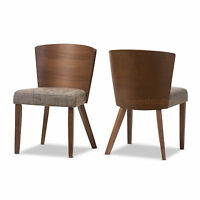 2 'Walnut' Tone Brown Dining Chairs Mid-Century Wood Convex Back Brown Fabric