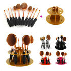 Pro 10PCS Oval Toothbrush Makeup Brush Set Deluxe Golden Puff set+Brushes Holder