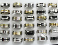 15pcs Mixed Silver/Black/Gold Stainless Steel Rings Wholesale Men Jewelry Lots