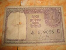 Old vintage Real Currency one Rupee Note from India 1967