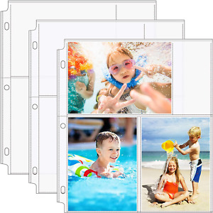 Photo Sleeves 4x6 3 Ring Binder Archival Album Pages Sheet Protector Refill 30pk