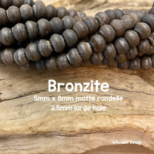 "Matte Bronzite LARGE HOLE beads - 5x8mm Rondelle Bead - 8"" Strand - 2.5mm Hole"