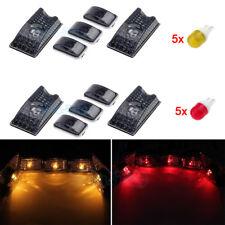 10Pcs Smoke Roof Cab Marker Light Cover Lens w/Amber Red LED Bulb For Hummer H2