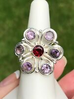 Artisan Sterling Silver Ring Garnet Amethyst Big Bold Handcrafted Flower SZ 7.25