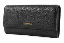 COCCINELLE Metallic Bubble Flat Flap Wallet Noir