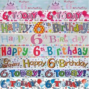 AGE 6 BIRTHDAY BANNER - Foil Holographic Party Decorations - 9ft / 2.6 Metre