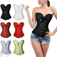 Women Black Overbust Boned Corset Burlesque Basque Lace-Up Size Costume Top O2G1