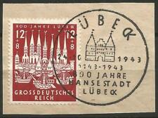 Germany Third Reich 1943 Used CTO First Day -800 Yrs Luebeck Holstentor Altstadt