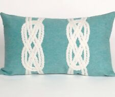 Liora Manne Indoor Outdoor Aqua Double Knot Pillow Modern Decor Patio Deck Boat
