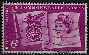 Great Britain 1958 Commonwealth Games Queen Elizabeth I /Mi:GB 304/ 6d STAMP