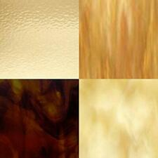 """4 Piece Amber Variety Stained Glass Sheets (8"""" x 10"""") (Free Shipping)"""