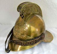 Vintage Brass Victorian Fireman Helmet~NSW FB Firefighter With Soft inner Liner