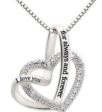 I love you for always and forever Jewelry Sterling Love heart Necklace Silver