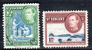 ST VINCENT   1938-47 .    .sg 149-50       1/2d + 1d       used