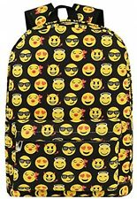 Emoji Backpack Cute Student Canvas Rucksack Satchel School Shoulder Bag (Black)
