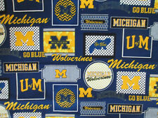 UNIVERSITY OF MICHIGAN WOLVERINES U of M BLUE BLOCKS CIRCLES COTTON FABRIC FQ