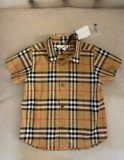 Burberry Boy Vintage Check Fred Short Sleeve Button Shirt Tan Beige Size 3Y NWT!