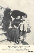 Artist Impression Merry Widow Hat suitors 1908 Grollman postcard 10166