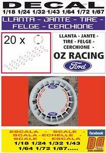 DECAL LLANTA - JANTE - TIRE - FELGE - CERCHIONE OZ RACING FORD ROJA RED (06)