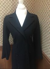 Full Circle Wool Black Jacket Double Breasted Coat Trench Extra Small XS