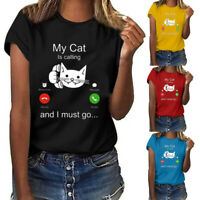 Womens Fashion Cute Cat Print Short Sleeve O-Neck Casual T-Shirt Top Blouse