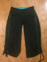 ALO CoolFit  Size M Medium Black Active Pant - Crop - Drawstring Leg