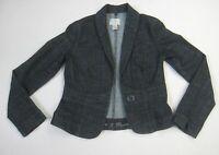 White House Black Market Denim Jacket Size 2 Blue Jean Button Chambray Blazer