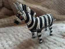 More details for zebra ornament wire with glass beads zimbabwean handmade in south africa