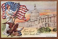Lady Liberty US Flag Bald Eagle Capital Building Patriotic Postcard c1906