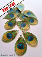PRE-CUT PEACOCK FEATHERS EDIBLE WAFER PAPER CUP CAKE PARTY TOPPERS DECORATIONS