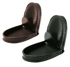 Genuine Leather Horseshoe Coin Hard Case Change Holder Purse Front Pocket