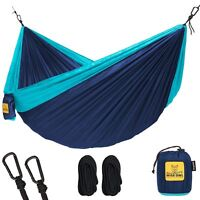 Wise Owl Outfitters Single 1-Person Camping Hammock Navy Blue & Light Blue New