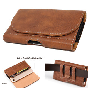 Cell Phone Pouch Leather Carrying Case Wallet Card Slot Belt Clip Holster M Size