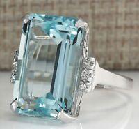 Fashion Women 925 Silver Blue Aquamarine Ring Bridal Engagemet Jewelry Size 5-12