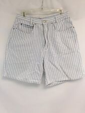 Bermuda Length Shorts Women 15 16 Light Blue White Striped Retro 90s Style Get!