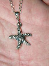 "1 STAR FISH NECKLACE Tibet  Silver STAR FISH Charm Dainty 20"" Silver Chain NEW!!"