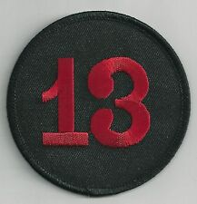 THIRTEEN - 13 - RED ON BLACK - IRON ON PATCH