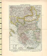 c1880 MAP ~ BALKAN PENINSULA ~ BOSNIA SERVIA ROUMANIA BULGARIA TURKEY