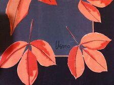 "Vera Neumann  Autumn Leaves Brown Fall Leaf Black Scarf Large 27"" Square"