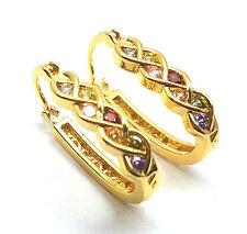 Cubic Zirconia Multi-Crystal Colorful Cross Vine Huggie Hoop Earring Gold Plated
